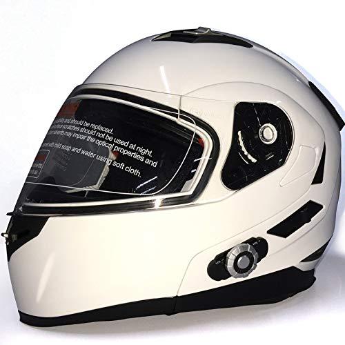 Bluetooth Integrado Casco,Casco para Motocicleta Lente Doble Forro Extraíble Lavable Certificación DOT/ECE Apto para Motocicletas Integrado Modular Casco B,L58~59cm