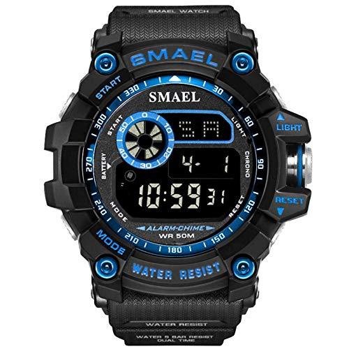 JTTM Hombre Reloj Deportivo Militar Sport Hombres Reloj De Pulsera Reloj Pulsera Digital LED,Azul