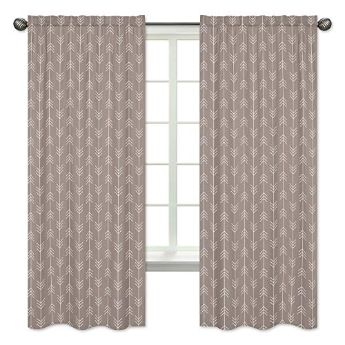 Gray Arrow Print Window Treatment Panels for Outdoor Adventure Nature Panels - Set of 2