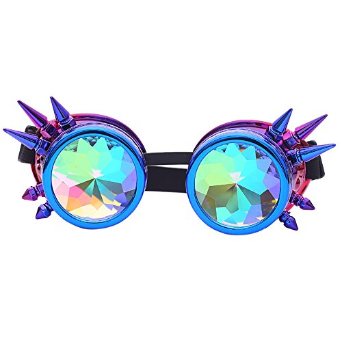 Gafas de sol unisex polarizadas steampunk con lentes difractadas, vintage, retro, redondas, cibergafas caleidoscopio, punk, hippie, cómodas, ideales para cosplay, disfraces