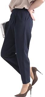 [ゴールドジャパン] 大きいサイズ レディース パンツ テーパード ジョーゼット ウエストリボン タック 通勤
