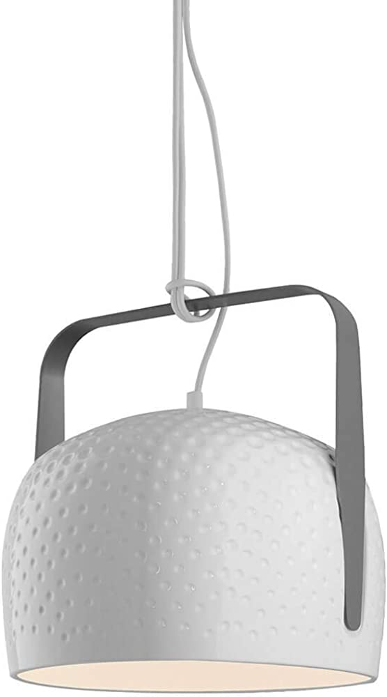 Karman bag, lampada a sospensione Ø32 cm,in ceramica con texture bianco lucido SE154BB INT