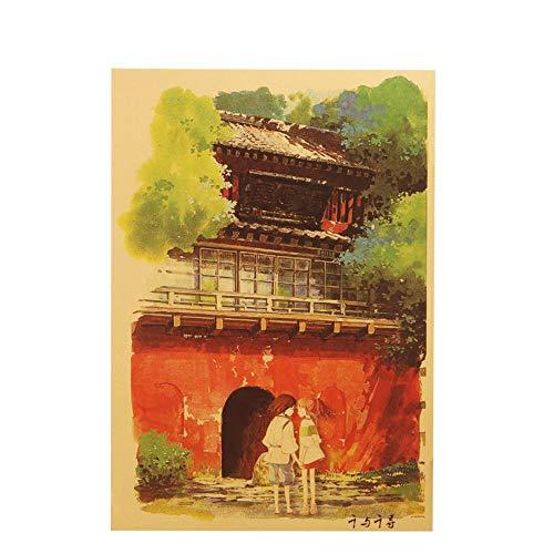UIXIYIMG 3PCS Spirited Away Kraftpapier im D-Stil Klassisches Cartoon-Filmplakat Wohnkultur-Wandaufkleber 50,5 x 35 cm