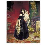 カール・ブリューロフ《娘と一緒のMAベックの肖像》アート油絵プリントキャンバス壁家の装飾-50x70cmフレームなし