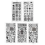 Lurrose 5 UNIDS Halloween Nail Stamping Plate Skull Pumpkin Ghost Nail Art Sticker Stamp Stencils para Niñas