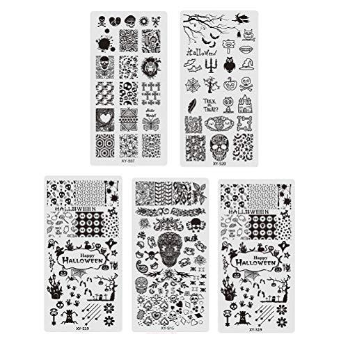 Lurrose 5 STÜCKE Halloween Nail Stamping Platte Schädel Kürbis Ghost Nail art Aufkleber Stempel Schablonen für Mädchen