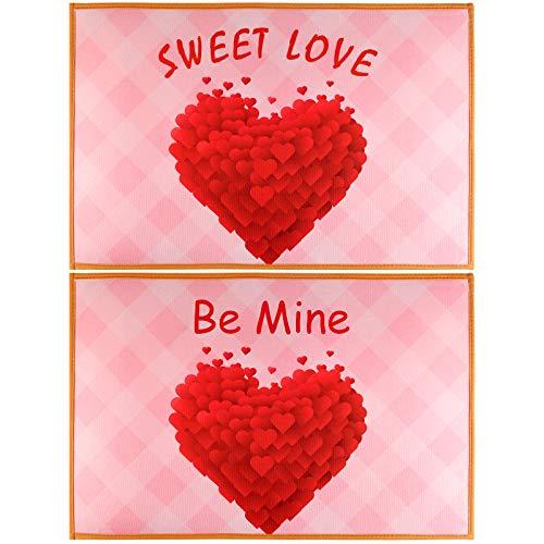 KUUQA 2pack Mat corazón Rojo de San Valentín Felpudo Bienvenido Mat Cubierta Exterior para Felpudo de la Puerta Principal, Valentín Decoraciones, 23,6 x 15,7 Pulgadas