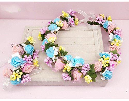 & Coiffe des fleurs de la Couronne Couronne de fleurs, Bandeau Fleur Garland Mariée à la main mariée Fête Ruban Bandeau Bracelet Bandeaux rose / blanc couronne de couronnes de fleurs ( Couleur : A )