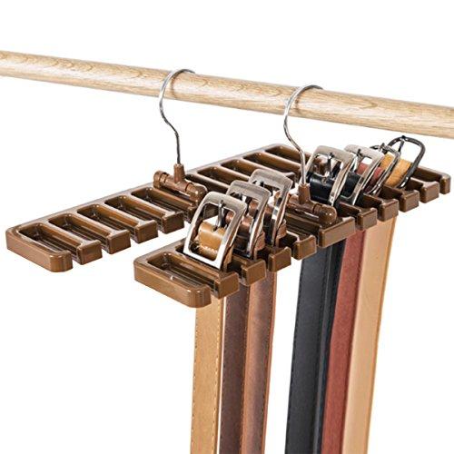 DayCount Pack of 2 Tie Belt Organizer Storage Rack Multifuction Rotating Ties Scarf Hanger Holder Closet Organization Wardrobe Finishing Rack for Men and Women Brown