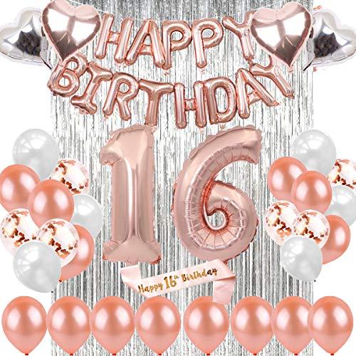 sancuanyi 16 Geburtstag Dekoration Rosegold– deko 16 Geburtstag mädchen, Happy Birthday Ballons Banner,16 deko Geburtstag für Mädchen und Jungen