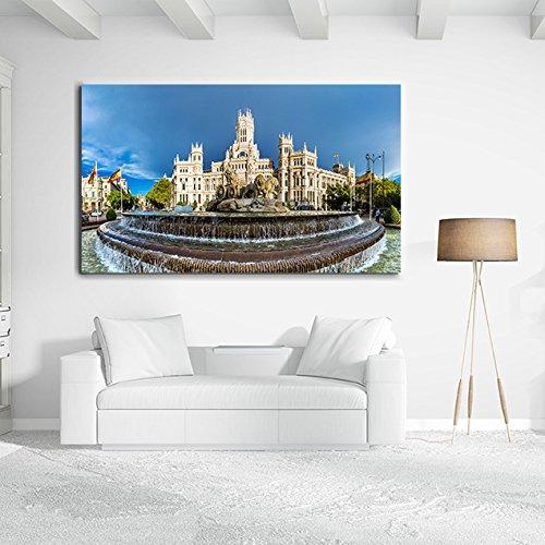 Cuadro Cartón Ecológico Las Cibeles Madrid | Varias Medidas 120x64cm | Decoración Habitación | Multicolor | Diseño Elegante | Cantos Impresos |