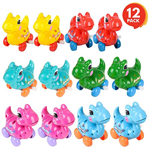 ArtCreativity Wind-Up Dinosaur Toy - Set of 12 - Dino Toys for Kids with Moving Wheels, Heads and Tails - Assorted Colors - Dinosaur Party Supplies, Birthday Party Favors for Boys, Girls, Toddlers