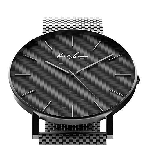 Karboo Armbanduhr Carbon Schwarz aus Edelstahl Ultraflache Herrenuhr