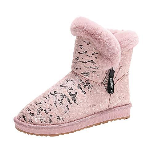 QinMM Mujer Zapatos Invierno Botas de Nieve Calientes de Piel con Pelo Forradas con Suela Antideslizante para Mujer Planos Beige Negro Gris Rosa