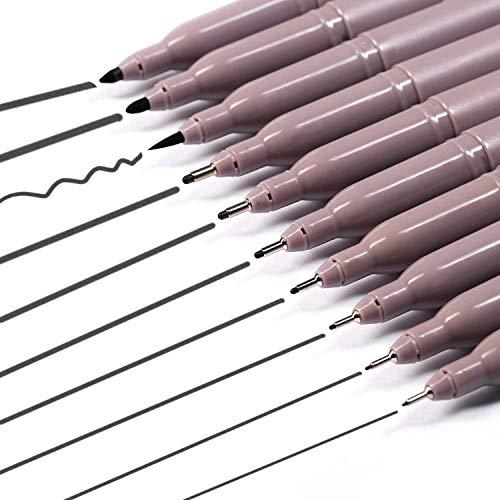 MEEDEN Black Micro-Pen Fineliner Ink Pens, 10PCS Fine Point Pen Set, Anti-Bleed Drawing Pens for Illustration Calligraphy Anime Sketching Scrapbooking
