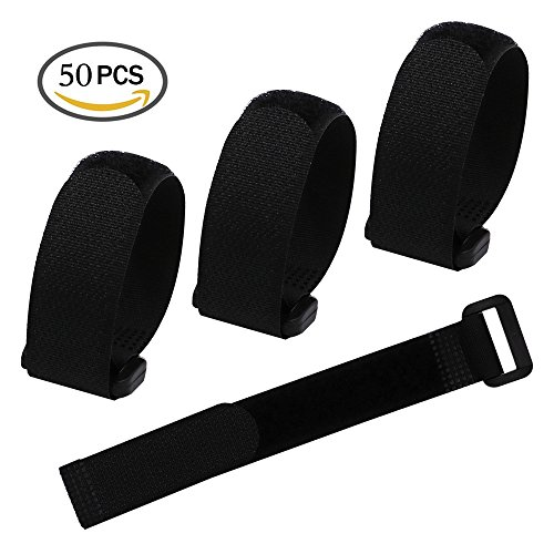 """LGEGE 50 Pcs 8"""" Black Reusable Fastening Wrap Strap, Loop Fastening Straps, Hook & Loop Cable Ties for Keeping Cable, Wire and All Kinds of Cords"""