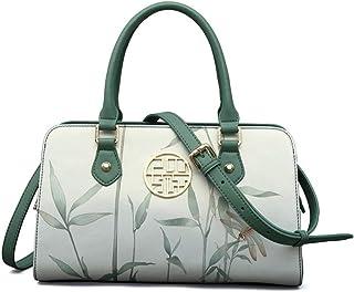 Women Bag Printed Flowers Ladies' Handbags Cow Leather Casual Green Shoulder Bags