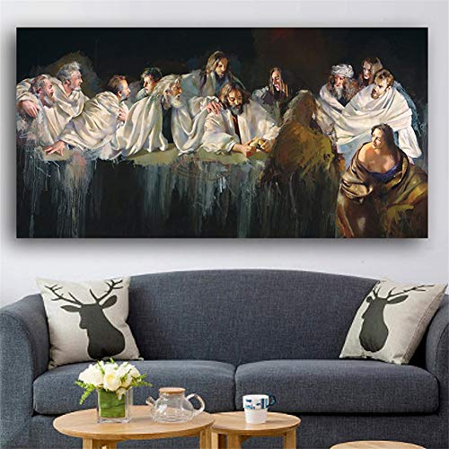 Diamond Art Painting Kits for Kids Full Drill Large Size 5D Diamond Painting Last Supper 50x100cm/20x40in Square Drill Rhinestone DIY Diamond Embroidery Cross Stitch Arts for Home Wall Decor L3733