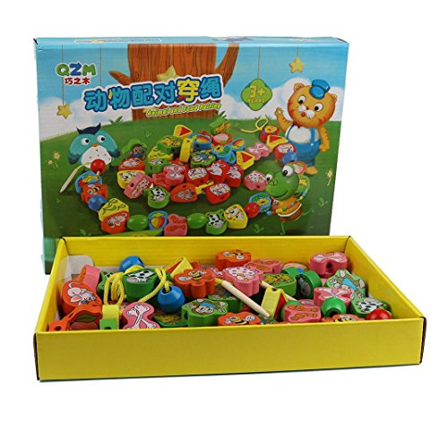 jeux éducatifs,Xinan Enfants animaux Jeu des perles de la petite enfance d'apprentissage éducatifs Jouets en bois