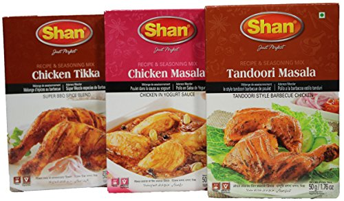 Shan Foods Masala Chicken Value Pack Tikka BBQ Tandoori Masala Mix Spices Meat Ingredients – Vegetable Dishes  Indian/Pakistani Bundle Combo Variety – Curry Mix Powder Seasoning – Special