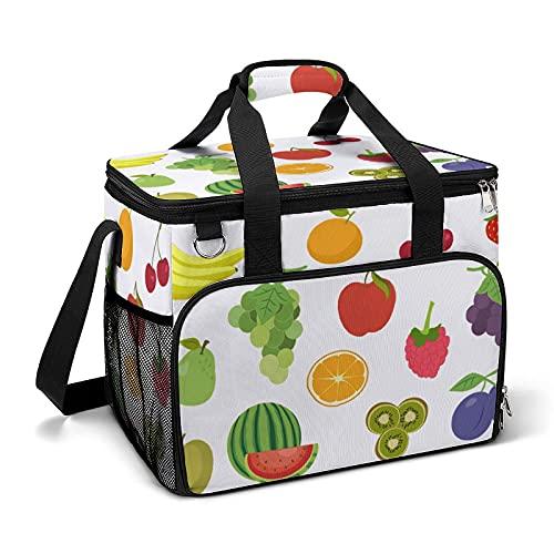 Bolsa térmica térmica portátil a prueba de fugas, diseño de frutas adecuado para niños y niñas con bolsa y bolsillos laterales de malla, adecuado para picnics escolares o trabajo.