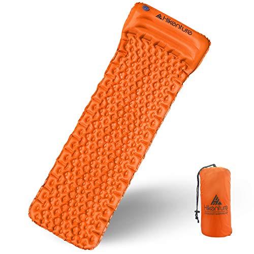 Karvipark Isomatte Ultraleichte Kleines Packmaß Camping Aufblasbare Luftmatratze mit Kopfkissen Schlafmatte für Camping, Reise, Outdoor, Wandern, Strand, Backpacking (Orange)