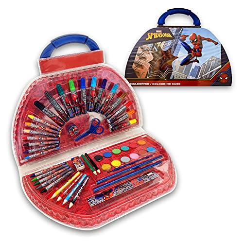 SPIDERMAN Maletín de pinturas para manualidades infantiles| Kit de Manualidades Artísticas | Maletín de Manualidades para todas las edades