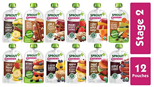 Image of the Sprout Organic Stage 2 Baby Food Pouches, 12 Flavor Variety Sampler, 12 Pouches