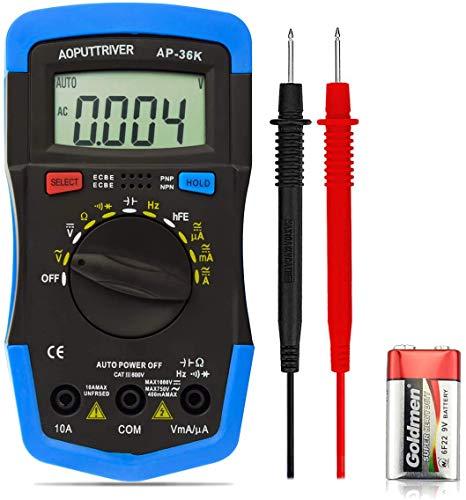 Multímetro Digital AP-36K 3999 Cuenta Tester Digital Voltímetro Amperímetro Ohmímetro Polímetro Digital para AC DC Voltaje Corriente Resistencia Capacitancia Frecuencia Diodos hFE Prueba Continuidad