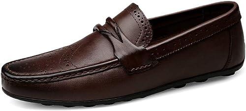 EGS-chaussures Mocassins de Conduite pour Hommes Chaussures de Bateau décontractées Glisser sur du Cuir véritable marée de Loisirs Classique à Bout Rond Chaussures Chaussures de Cricket