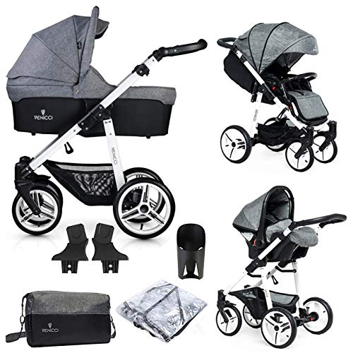 Venicci Soft Vento 3-in-1 Travel System (9 Piece Bundle) – Denim Grey/White - with Carrycot + Car Seat + Changing Bag + Footmuff + Raincover + 5-Point Harness and UV 50+ Fabric + Car Seat Adapters
