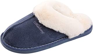 Men's Winter Solid Fluffy Slip-On House Indoor Outdoor Shoes Warm Slippers