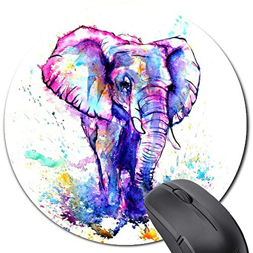 Purple Blue Watercolor Elephant Round Mouse Pad,Gaming Mousepad Non-Slip Rubber for Computers