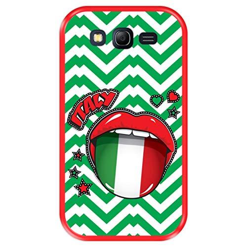 Funda Roja para [ Samsung Galaxy Grand Lite - Grand Neo - Neo Plus ] diseño [ Bandera de Italia, Pop Art Sexy Labios Rojos ] Carcasa Silicona Flexible TPU