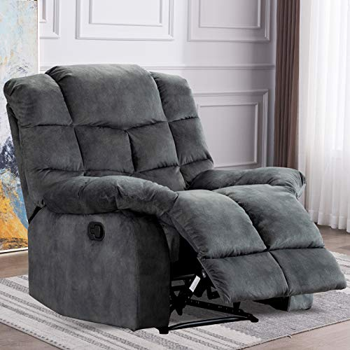 ANJHOME Single Recliner Chairs for Living Room Overstuffed Breathable Fabric Reclining Chair Manual Sofas (Gray)