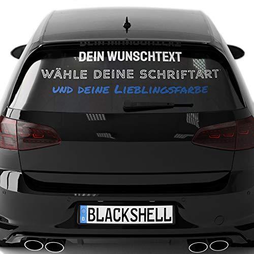 Blackshell® Wunschtext Aufkleber Auto, Motorrad, Fahrrad, Boot - klebt auf jeder glatten Oberfläche - Aufkleber selbst gestalten - 15cm-124cm Breite - inkl. Profi Rakel für Folie