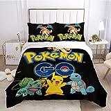 Material cómodo funda de edredón de 3 piezas juego de cama Pokémon juego de cama