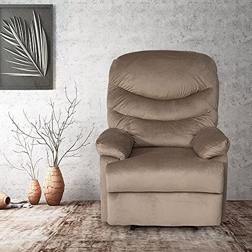 Recliner Chair PU Leather Single Sofa Chair Armchairs for Living Room Beige Velvet