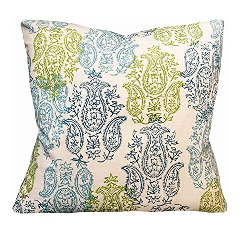 Promini John Robshaw Yadi Aqua Green for Duralee Fabric for Decorative Pillow Covers Handmade Throw Pillow Case Cushion Pillowcase for Sofa Home Decor 20 x 20 Inches