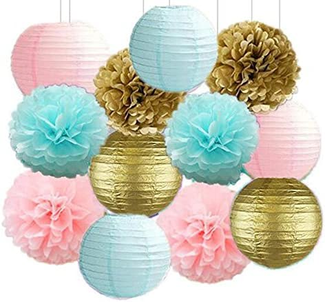 12PCS Gender Reveal Party Supplies Mixed Baby Blue Pink Gold Party Tissue Pom Poms Paper Lantern product image