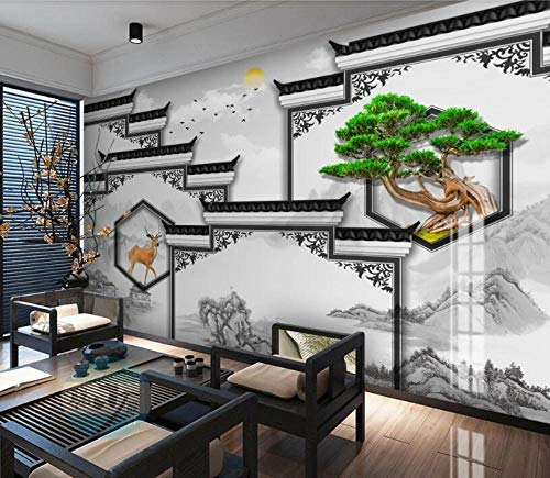 Mural de papel tapiz 3d Nueva arquitectura de estilo chino edificio cabeza de caballo pintura de paisaje mural sala de estar TV fondo pared oficina dormitorio papel tapiz-Mural 3D_El 150 * 105
