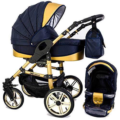 Tabbi ECO X GOLD | 2 in 1 Kombi Kinderwagen Hartgummi Blue