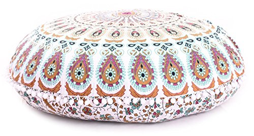 Funda de cojín de suelo grande de mandala Barmeri de 81,28 cm, para meditación o asiento otomano, diseño hippie decorativo, con cremallera, puf otomano, con pompones (MUSTURD)