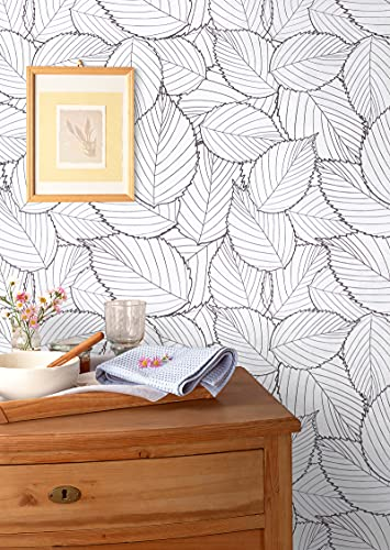 Wallpaper Peel and Stick Wallpaper Modern Grey Leaf Contact Paper Removable Self...