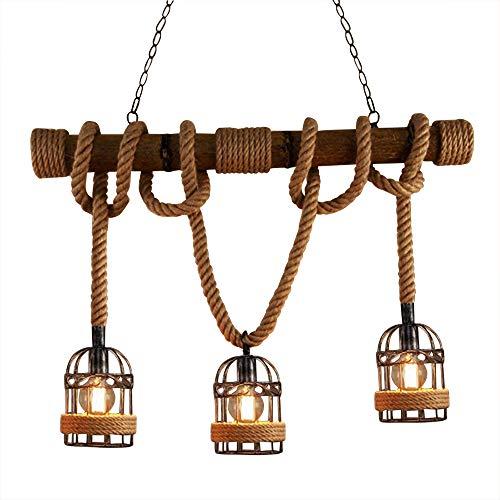 RUNNUP Industrielle Vintage Hängelampe Pendelleuchte Seil Anhänger Lampe E27 Sockel mit Korb Holz für Wohnzimmer Esszimmer Restaurant Café Hotel Diele Dekoration (Keine Leuchtmittel)