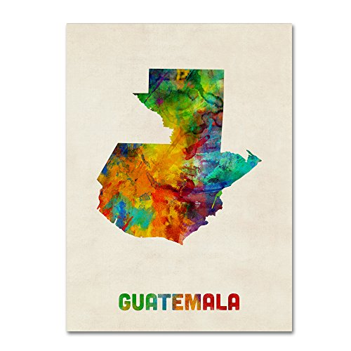 Guatemala Watercolor Map by Michael Tompsett, 14x19-Inch Canvas Wall Art