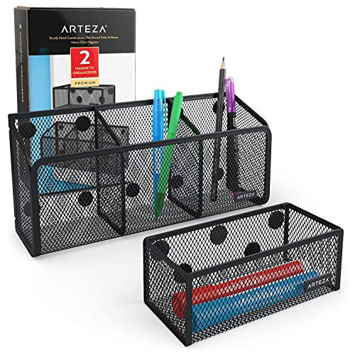 Arteza Metal Magnetic Basket Pencil Holder, Set of 2, Mesh Storage Baskets with Extra Strong Magnets - Marker and Pen Organizer, Holds Whiteboard and Locker Accessories Securely