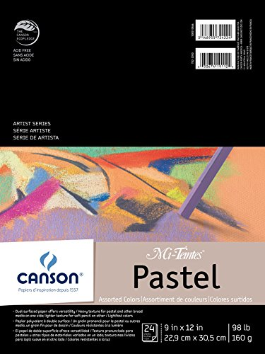 "CANSON Mi-Teintes Pastel Pad, Assorted Colors 9""X12"" Fold Over (100510864)"