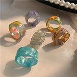 Anillos gruesos de acrílico vintage, anillo de dedo colorido de resina de moda, para niñas y mujeres precioso anillo de plástico transparente, gema anillos abiertos regalo (6 Pcs)