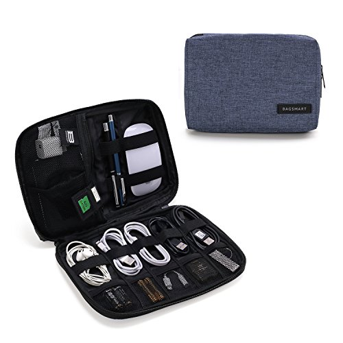 BAGSMART Electronic Organizer Small Travel Cable Organizer Bag for Hard Drives, Cables, USB, SD Card, Blue